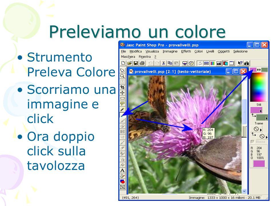 Preleviamo un colore Strumento Preleva Colore Scorriamo una immagine e click Ora doppio click sulla tavolozza