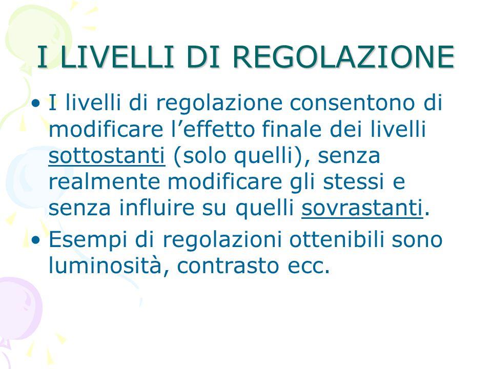 I LIVELLI DI REGOLAZIONE I livelli di regolazione consentono di modificare leffetto finale dei livelli sottostanti (solo quelli), senza realmente modi