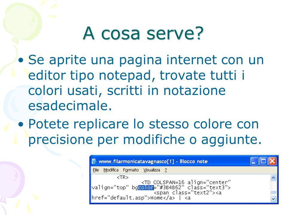 A cosa serve? Se aprite una pagina internet con un editor tipo notepad, trovate tutti i colori usati, scritti in notazione esadecimale. Potete replica