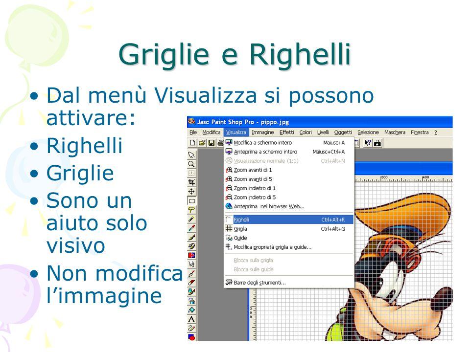 Griglie e Righelli Dal menù Visualizza si possono attivare: Righelli Griglie Sono un aiuto solo visivo Non modifica limmagine