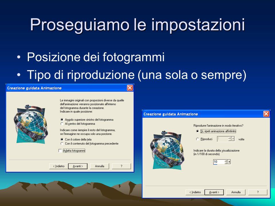 Proseguiamo le impostazioni Posizione dei fotogrammi Tipo di riproduzione (una sola o sempre)