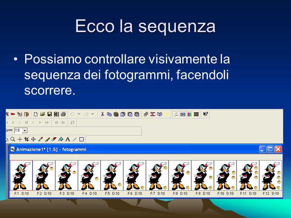 Ecco la sequenza Possiamo controllare visivamente la sequenza dei fotogrammi, facendoli scorrere.