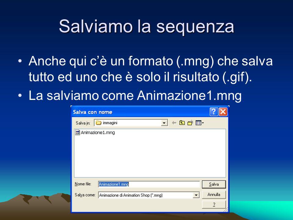 Salviamo la sequenza Anche qui cè un formato (.mng) che salva tutto ed uno che è solo il risultato (.gif). La salviamo come Animazione1.mng