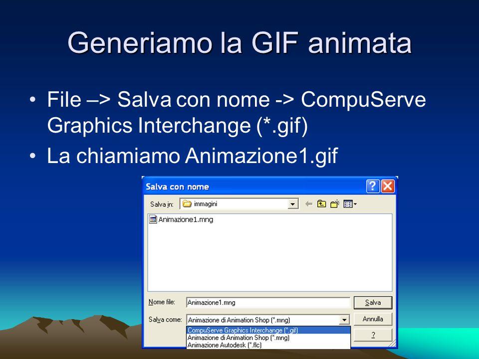 Generiamo la GIF animata File –> Salva con nome -> CompuServe Graphics Interchange (*.gif) La chiamiamo Animazione1.gif