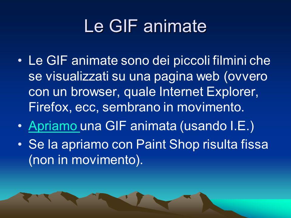 Le GIF animate Le GIF animate sono dei piccoli filmini che se visualizzati su una pagina web (ovvero con un browser, quale Internet Explorer, Firefox,