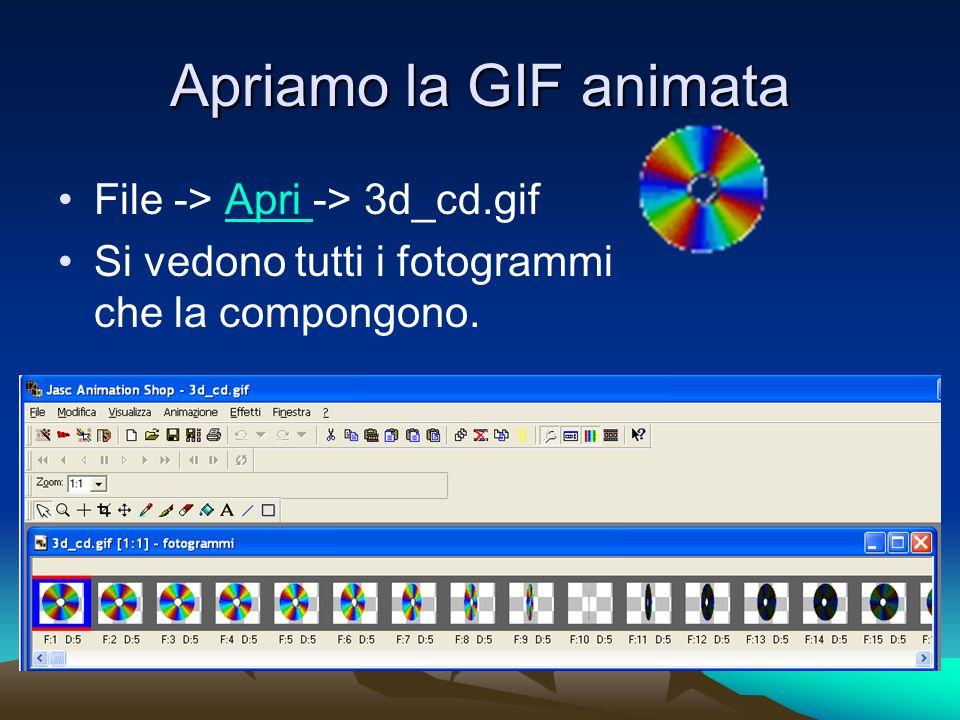 Apriamo la GIF animata File -> Apri -> 3d_cd.gifApri Si vedono tutti i fotogrammi che la compongono.