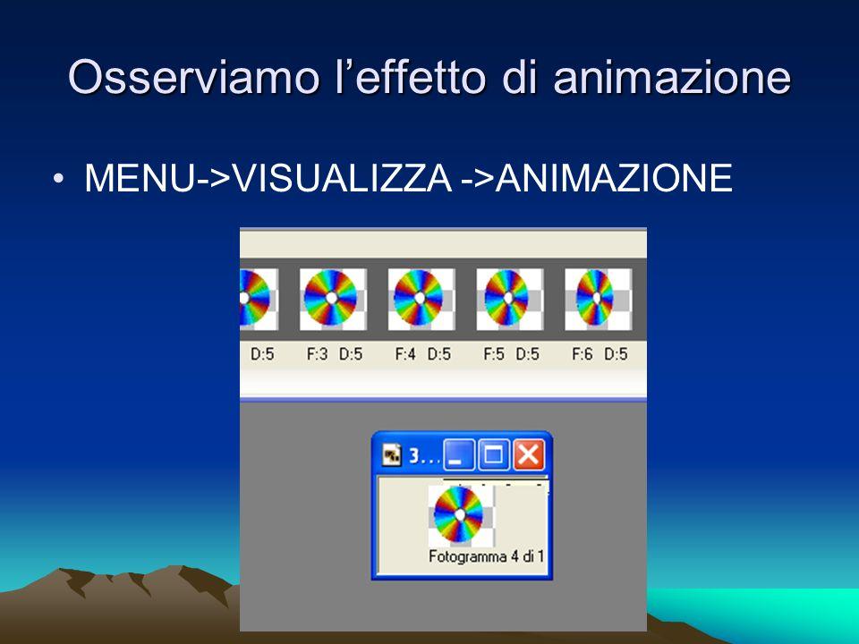 Osserviamo leffetto di animazione MENU->VISUALIZZA ->ANIMAZIONE