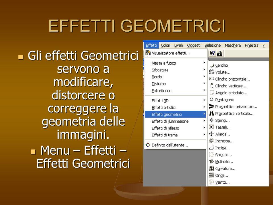 EFFETTI GEOMETRICI Gli effetti Geometrici servono a modificare, distorcere o correggere la geometria delle immagini. Gli effetti Geometrici servono a