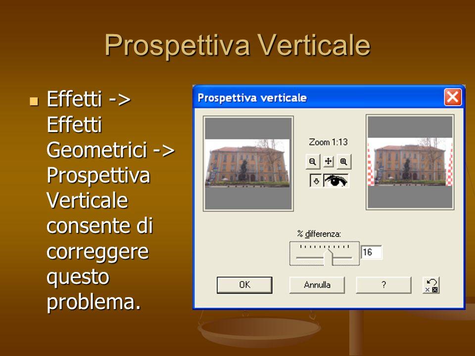 Prospettiva Verticale Effetti -> Effetti Geometrici -> Prospettiva Verticale consente di correggere questo problema. Effetti -> Effetti Geometrici ->
