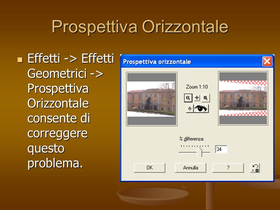 Prospettiva Orizzontale Effetti -> Effetti Geometrici -> Prospettiva Orizzontale consente di correggere questo problema. Effetti -> Effetti Geometrici