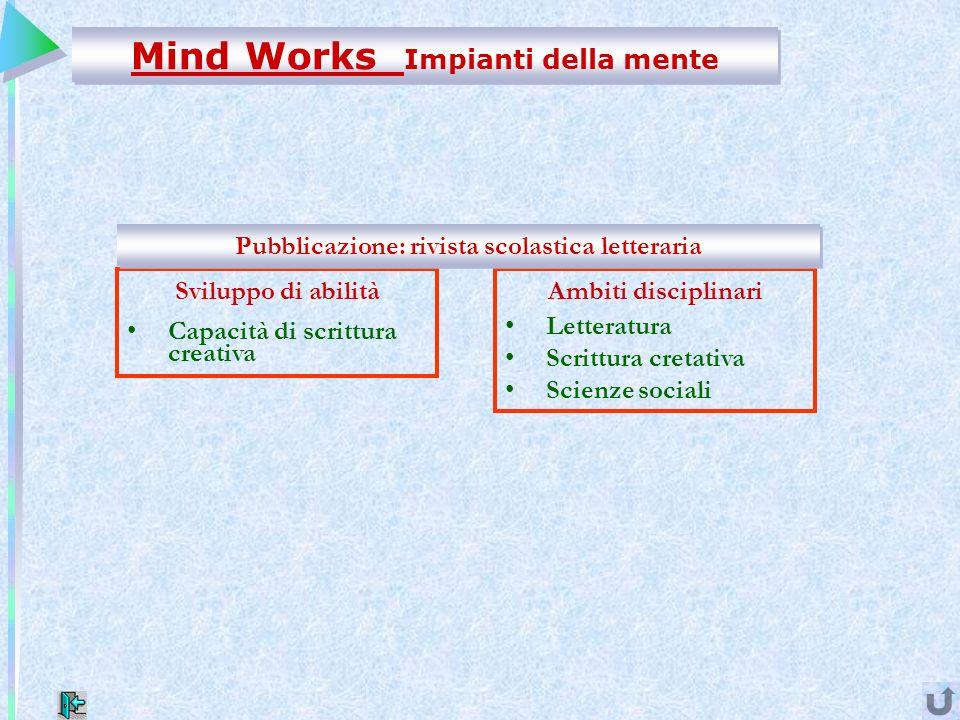 Mind Works Impianti della mente Ambiti disciplinari Letteratura Scrittura cretativa Scienze sociali Sviluppo di abilità Capacità di scrittura creativa Pubblicazione: rivista scolastica letteraria