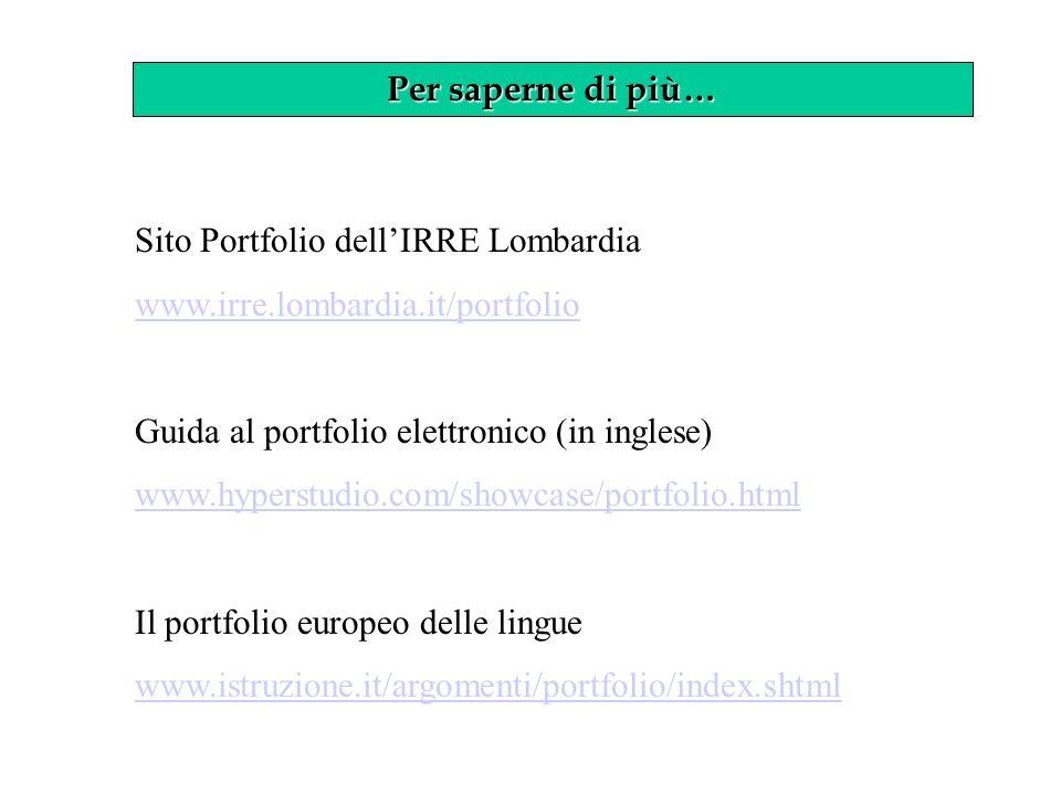 Per saperne di più… Sito Portfolio dellIRRE Lombardia www.irre.lombardia.it/portfolio Guida al portfolio elettronico (in inglese) www.hyperstudio.com/