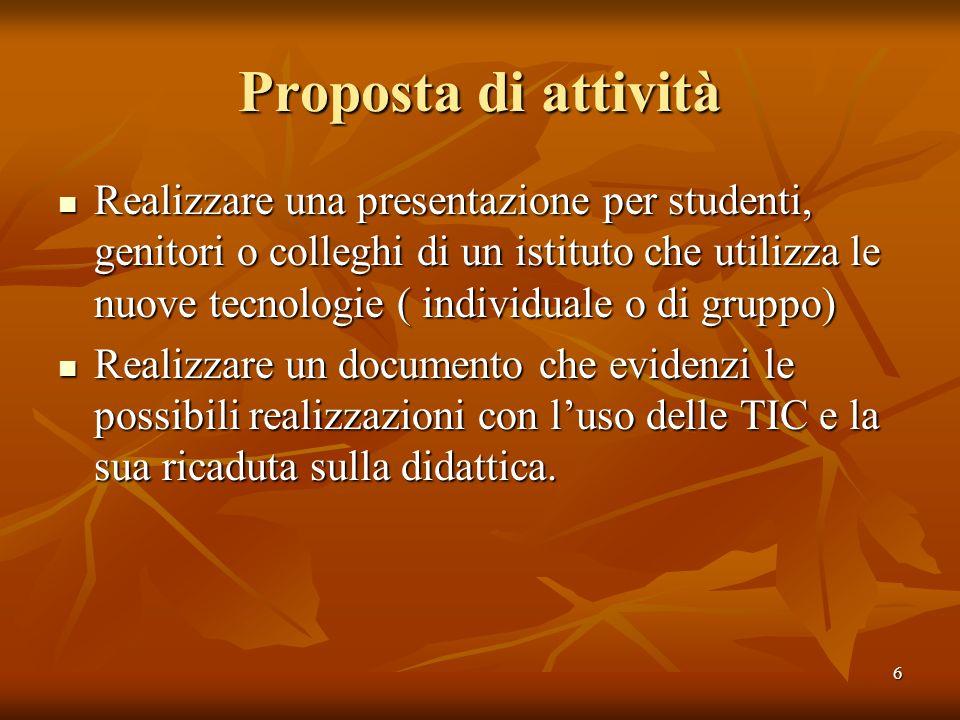6 Proposta di attività Realizzare una presentazione per studenti, genitori o colleghi di un istituto che utilizza le nuove tecnologie ( individuale o