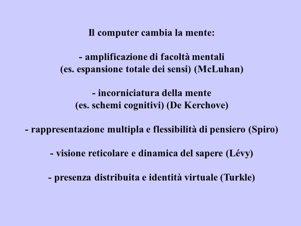 Il computer cambia la mente: - amplificazione di facoltà mentali (es. espansione totale dei sensi) (McLuhan) - incorniciatura della mente (es. schemi