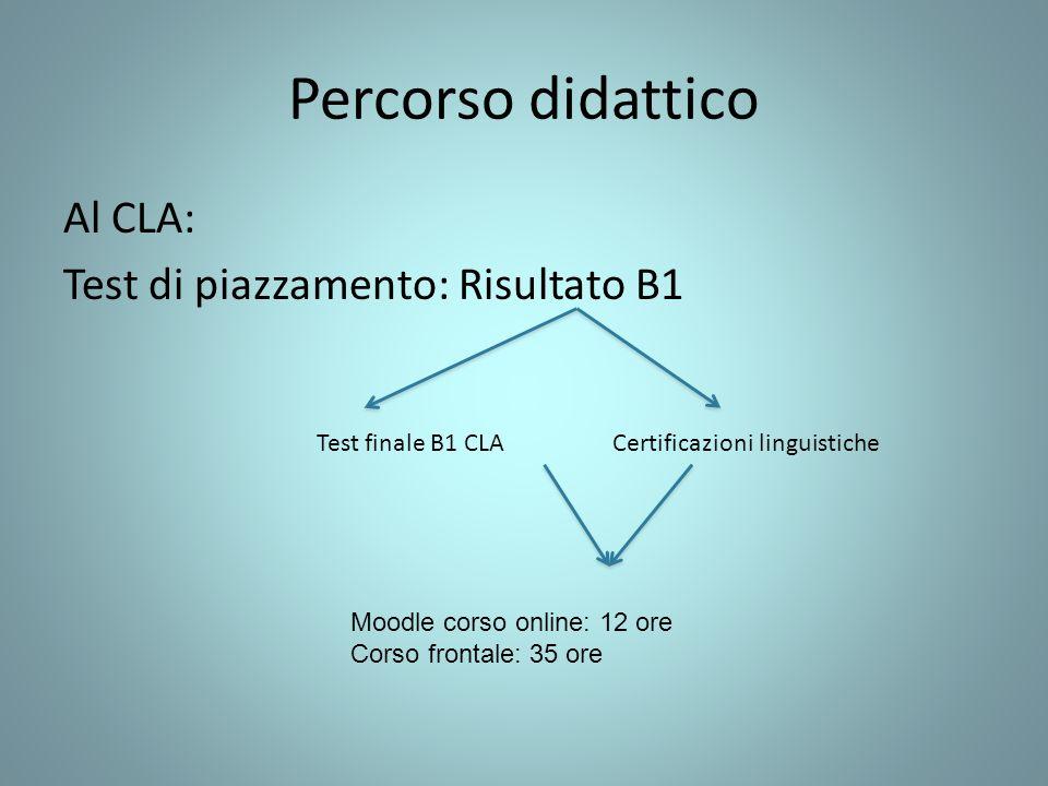 Percorso didattico Al CLA: Test di piazzamento: Risultato B1 Test finale B1 CLA Certificazioni linguistiche Moodle corso online: 12 ore Corso frontale: 35 ore