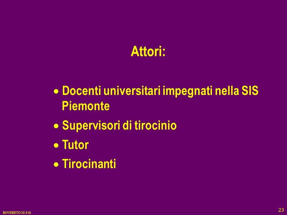 ROVERETO 20.9.01 23 Attori: Docenti universitari impegnati nella SIS Piemonte Supervisori di tirocinio Tutor Tirocinanti