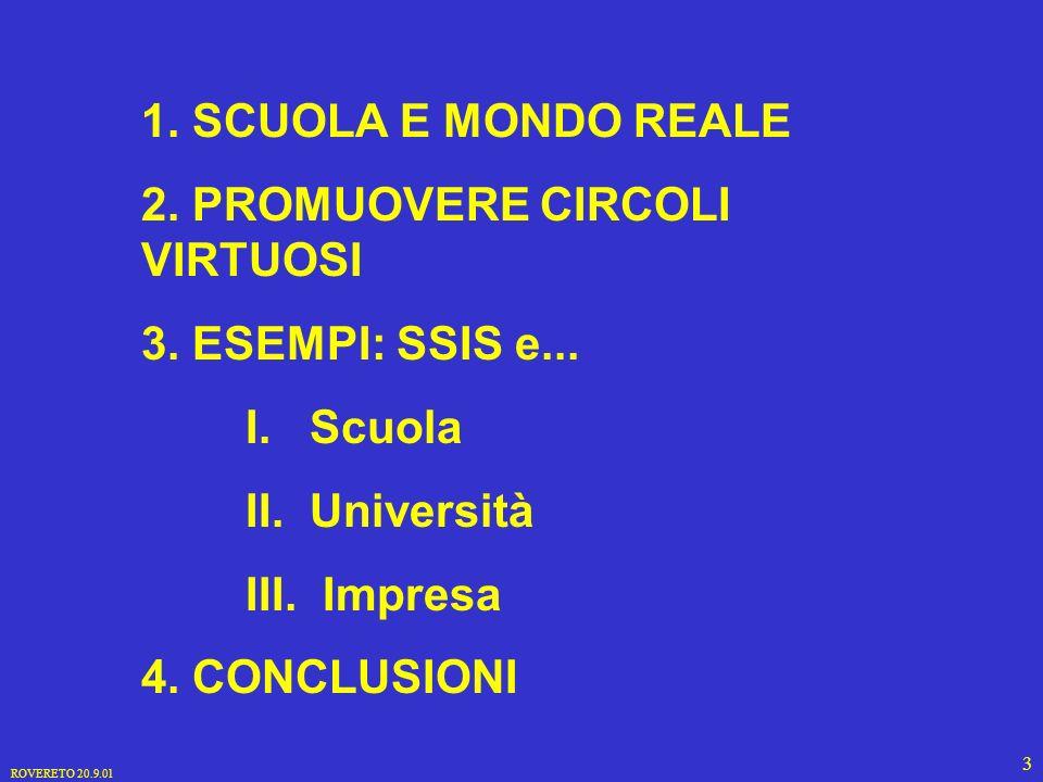 ROVERETO 20.9.01 3 1. SCUOLA E MONDO REALE 2. PROMUOVERE CIRCOLI VIRTUOSI 3.