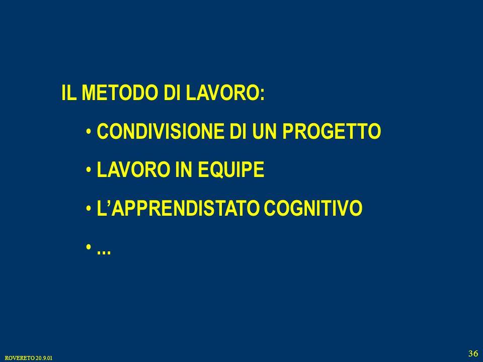 ROVERETO 20.9.01 36 IL METODO DI LAVORO: CONDIVISIONE DI UN PROGETTO LAVORO IN EQUIPE LAPPRENDISTATO COGNITIVO...