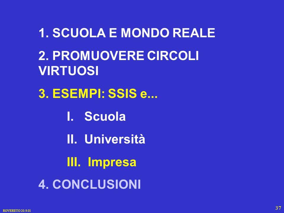 ROVERETO 20.9.01 37 1. SCUOLA E MONDO REALE 2. PROMUOVERE CIRCOLI VIRTUOSI 3.