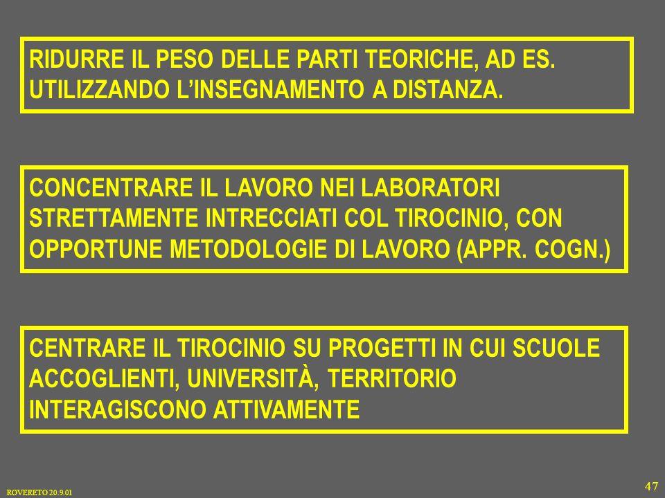 ROVERETO 20.9.01 47 RIDURRE IL PESO DELLE PARTI TEORICHE, AD ES.
