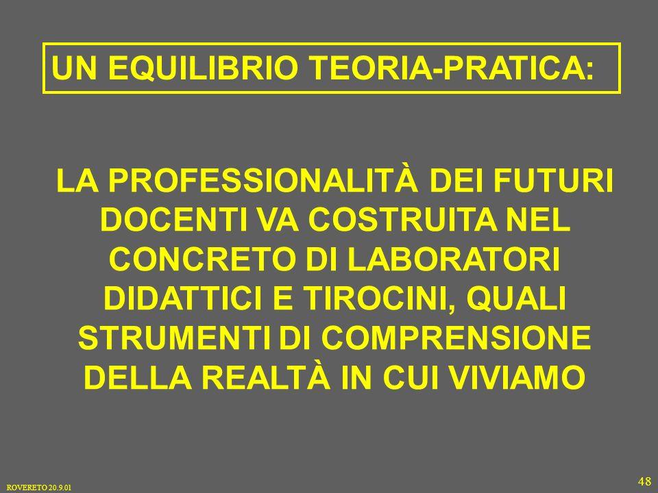 ROVERETO 20.9.01 48 LA PROFESSIONALITÀ DEI FUTURI DOCENTI VA COSTRUITA NEL CONCRETO DI LABORATORI DIDATTICI E TIROCINI, QUALI STRUMENTI DI COMPRENSIONE DELLA REALTÀ IN CUI VIVIAMO UN EQUILIBRIO TEORIA-PRATICA: