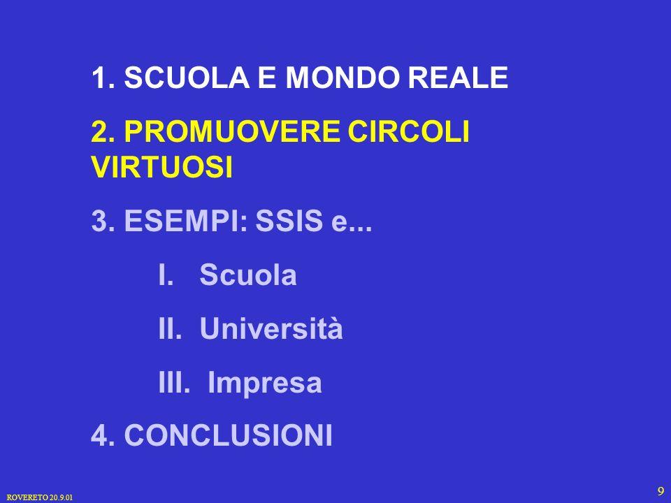 ROVERETO 20.9.01 9 1. SCUOLA E MONDO REALE 2. PROMUOVERE CIRCOLI VIRTUOSI 3.