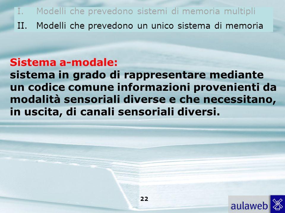 Rumiati, Lotto, Introduzione alla psicologia della comunicazione, il Mulino, 2007 Capitolo I. TITOLO 21 Un sistema a-modale di rappresentazione; Siste