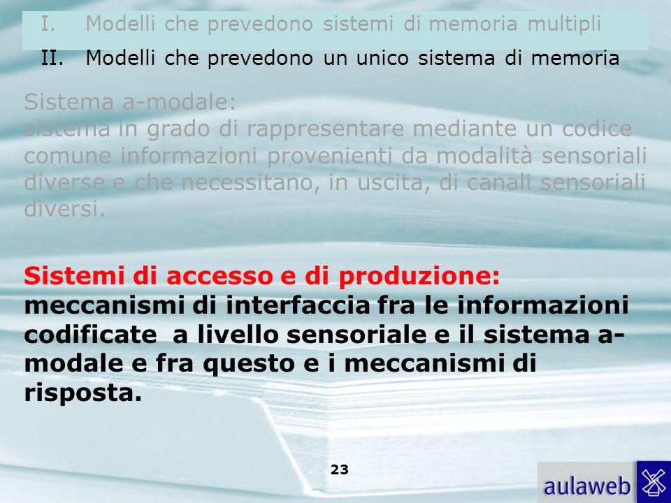 Rumiati, Lotto, Introduzione alla psicologia della comunicazione, il Mulino, 2007 Capitolo I. TITOLO 22 Sistema a-modale: sistema in grado di rapprese