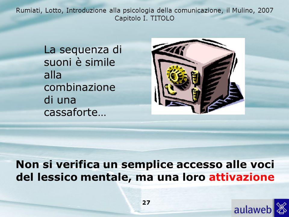 Rumiati, Lotto, Introduzione alla psicologia della comunicazione, il Mulino, 2007 Capitolo I. TITOLO 26 ACCESSO LESSICALE Data una parola cè un access