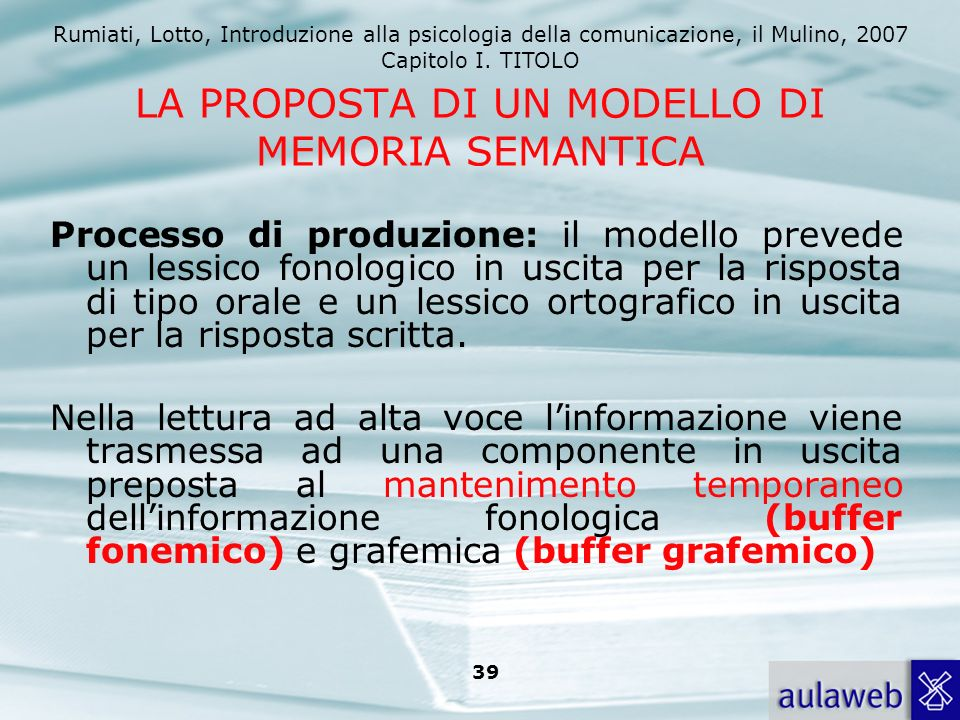 Rumiati, Lotto, Introduzione alla psicologia della comunicazione, il Mulino, 2007 Capitolo I. TITOLO 38 Il sistema ricostruisce dei volumi: rappresent