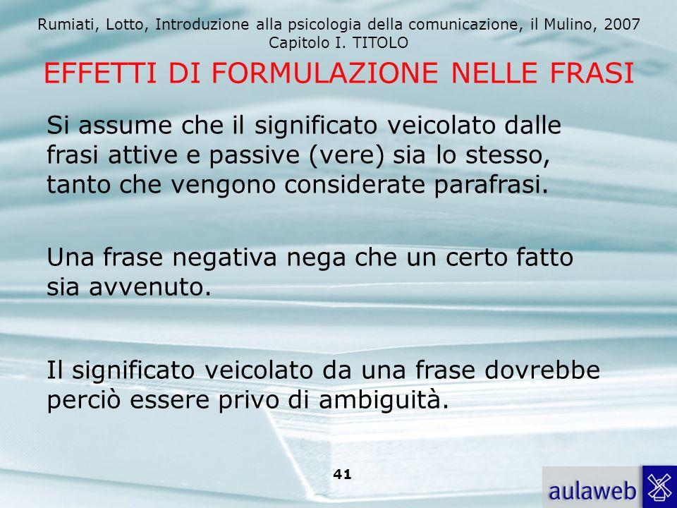 Rumiati, Lotto, Introduzione alla psicologia della comunicazione, il Mulino, 2007 Capitolo I. TITOLO 40 Procedure di elaborazione: operazioni mentali