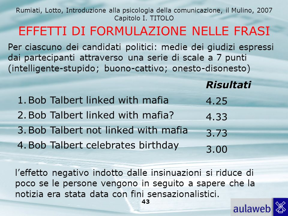 Rumiati, Lotto, Introduzione alla psicologia della comunicazione, il Mulino, 2007 Capitolo I. TITOLO 42 Wegner, Wenzlaff, Kerker e Beattie (1981) Effe