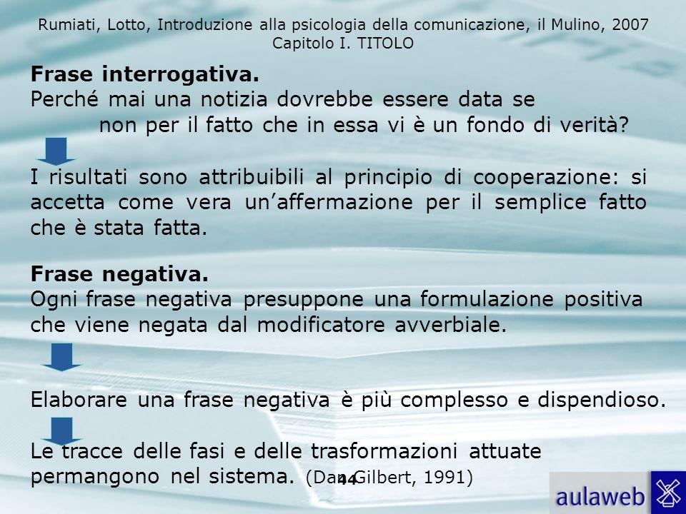 Rumiati, Lotto, Introduzione alla psicologia della comunicazione, il Mulino, 2007 Capitolo I. TITOLO 43 1.Bob Talbert linked with mafia 2.Bob Talbert