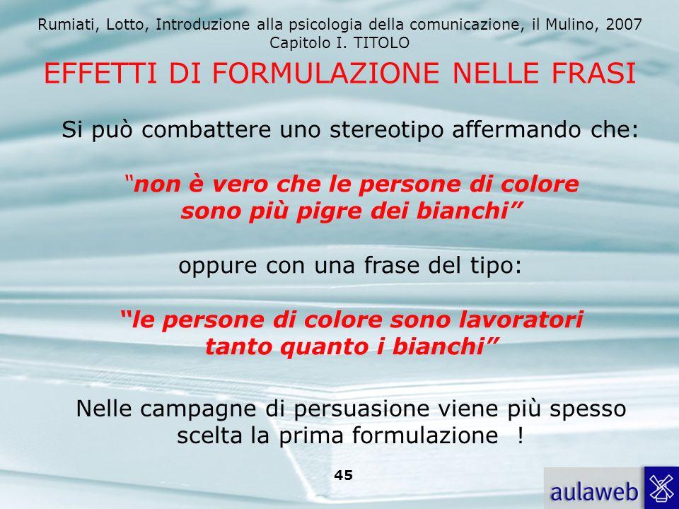 Rumiati, Lotto, Introduzione alla psicologia della comunicazione, il Mulino, 2007 Capitolo I. TITOLO 44 Frase interrogativa. Perché mai una notizia do