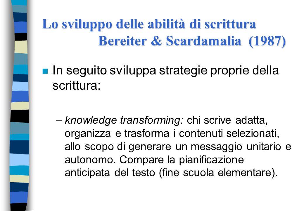 n In seguito sviluppa strategie proprie della scrittura: –knowledge transforming: chi scrive adatta, organizza e trasforma i contenuti selezionati, al