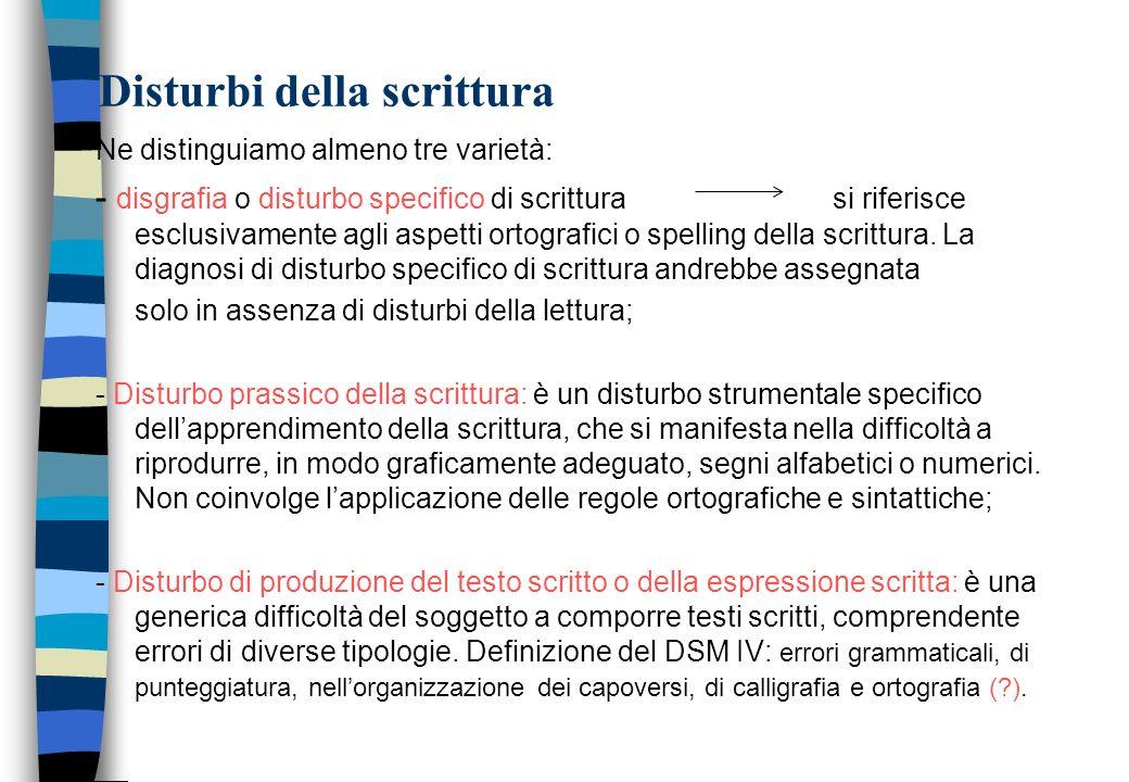 Disturbi della scrittura Ne distinguiamo almeno tre varietà: - disgrafia o disturbo specifico di scrittura si riferisce esclusivamente agli aspetti or