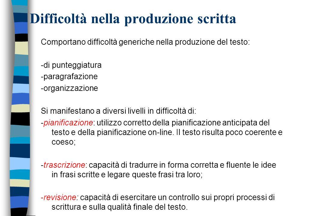 Difficoltà nella produzione scritta Comportano difficoltà generiche nella produzione del testo: -di punteggiatura -paragrafazione -organizzazione Si m