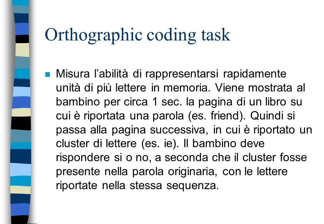 Orthographic coding task n Misura labilità di rappresentarsi rapidamente unità di più lettere in memoria. Viene mostrata al bambino per circa 1 sec. l