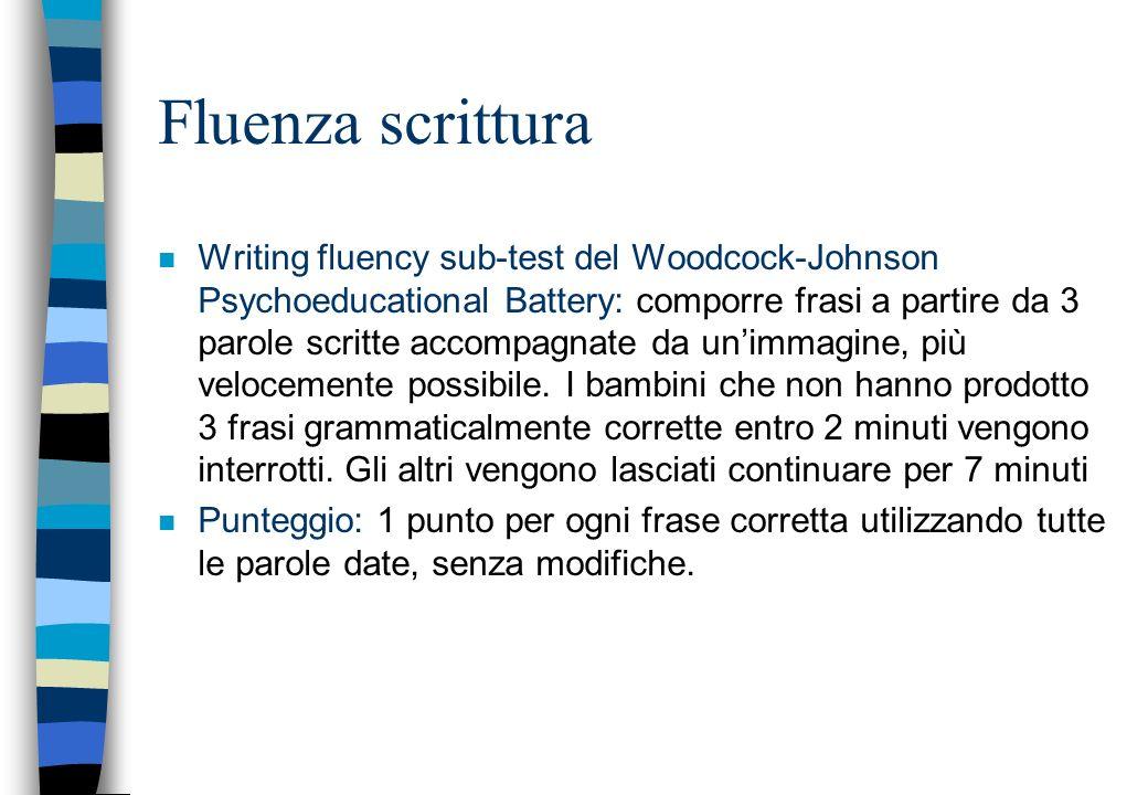 Fluenza scrittura n Writing fluency sub-test del Woodcock-Johnson Psychoeducational Battery: comporre frasi a partire da 3 parole scritte accompagnate