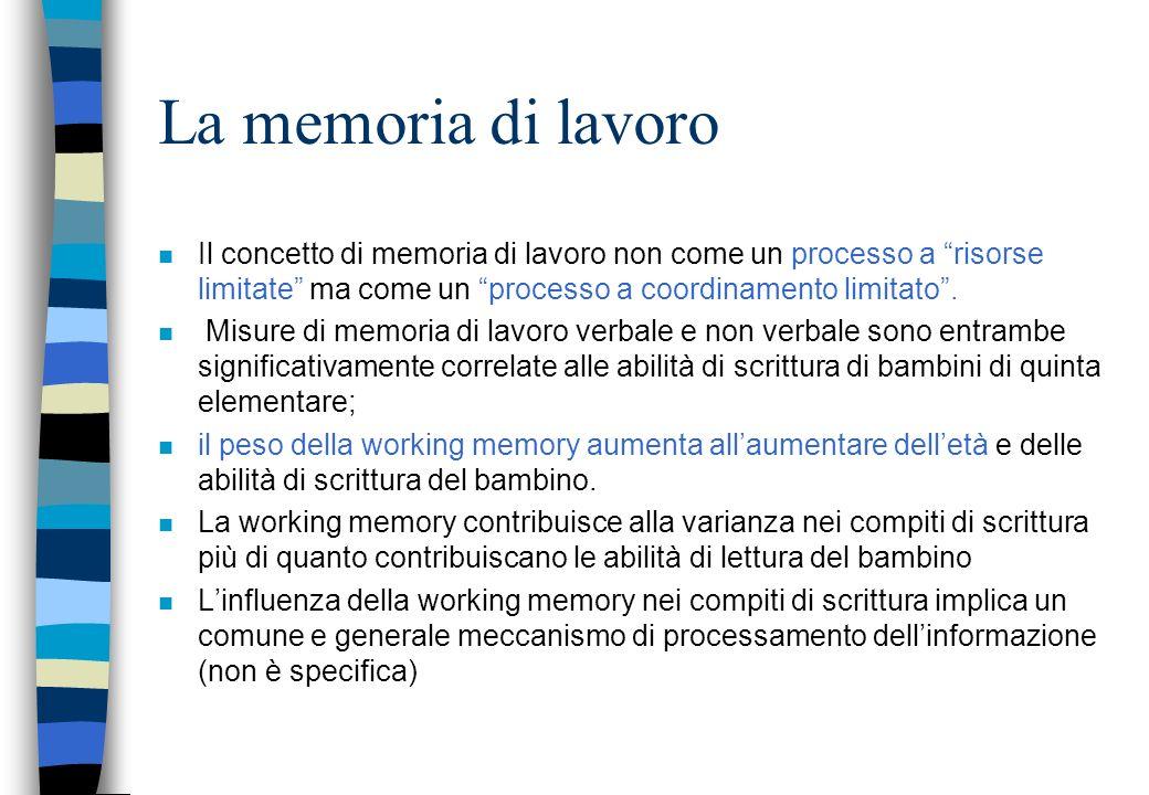 La memoria di lavoro n Il concetto di memoria di lavoro non come un processo a risorse limitate ma come un processo a coordinamento limitato. n Misure