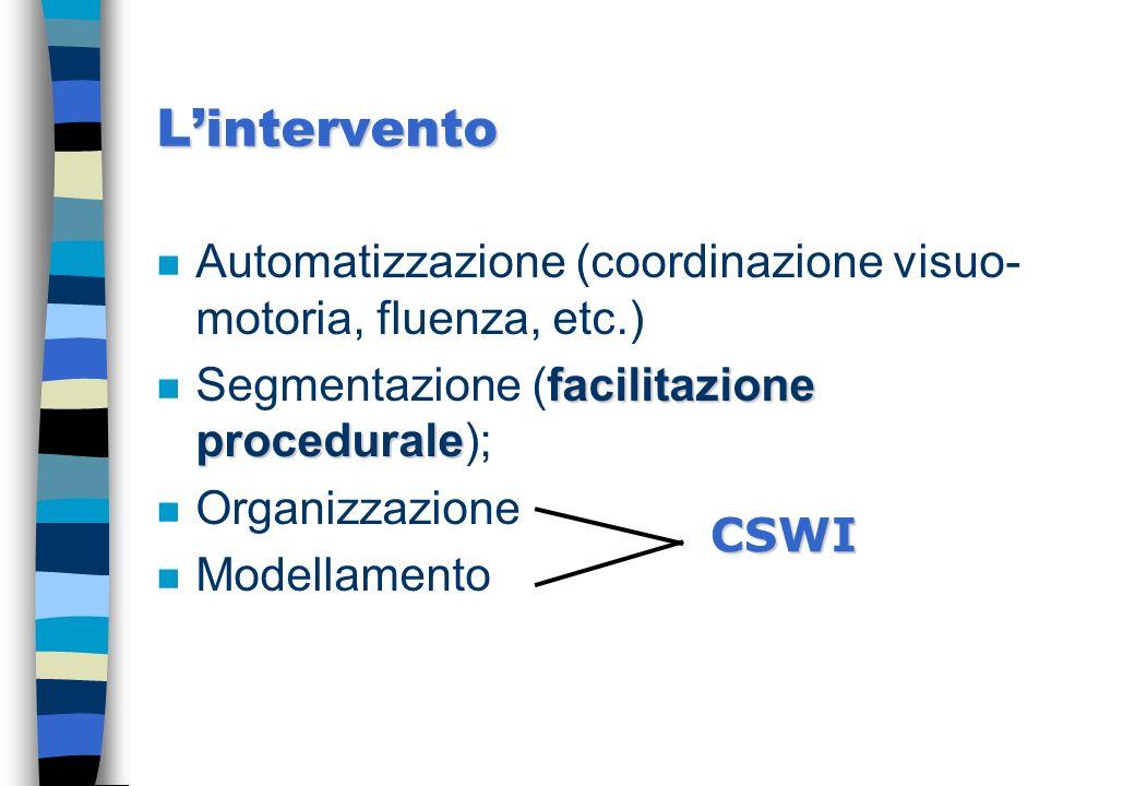 Lintervento n Automatizzazione (coordinazione visuo- motoria, fluenza, etc.) facilitazione procedurale n Segmentazione (facilitazione procedurale); n