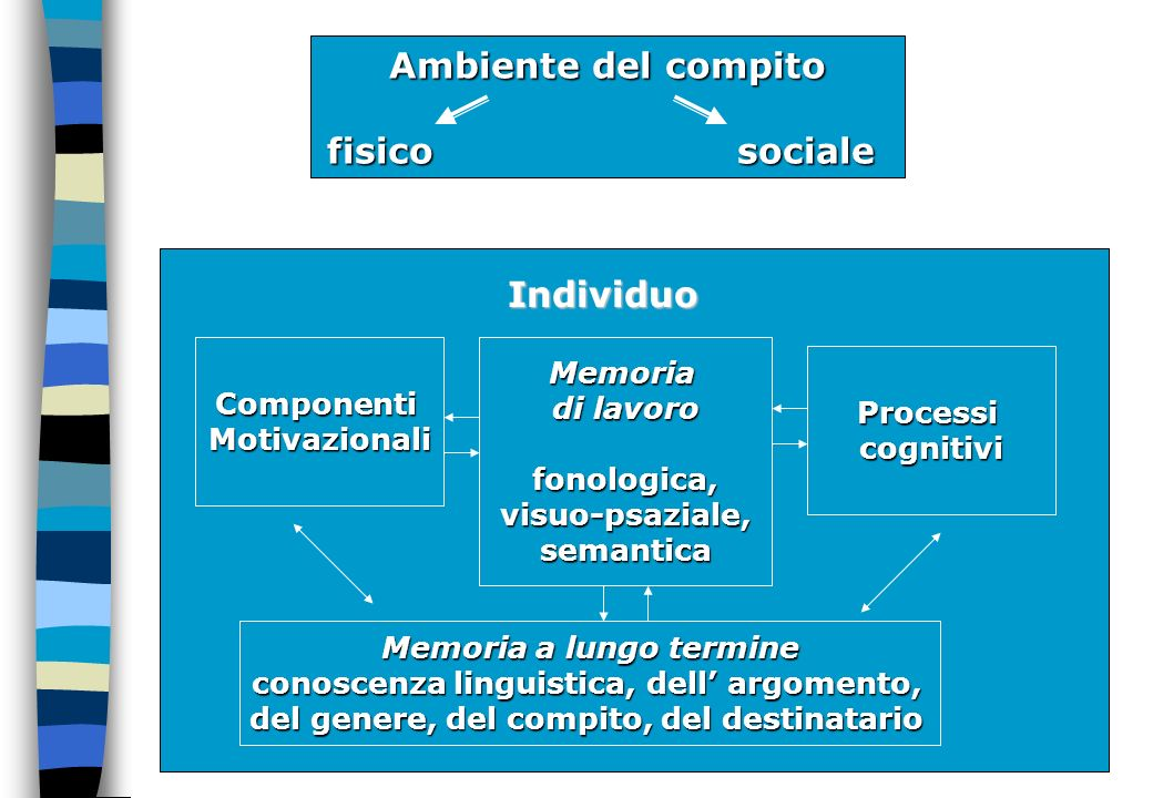 Ambiente del compito fisico sociale Individuo ComponentiMotivazionaliMemoria di lavoro fonologica,visuo-psaziale,semantica Processicognitivi Memoria a