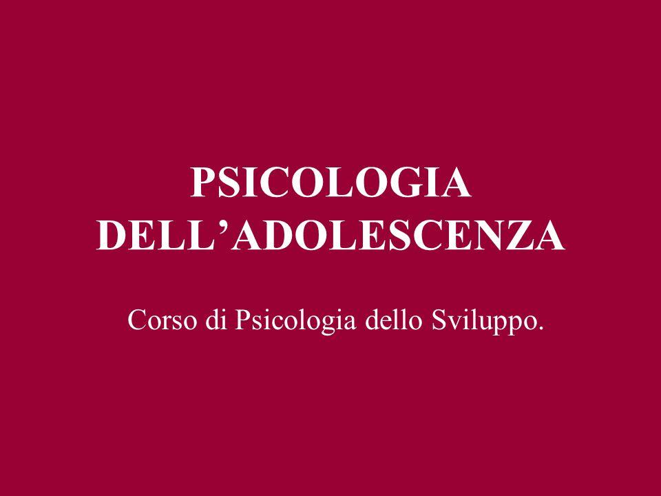 PSICOLOGIA DELLADOLESCENZA Corso di Psicologia dello Sviluppo.