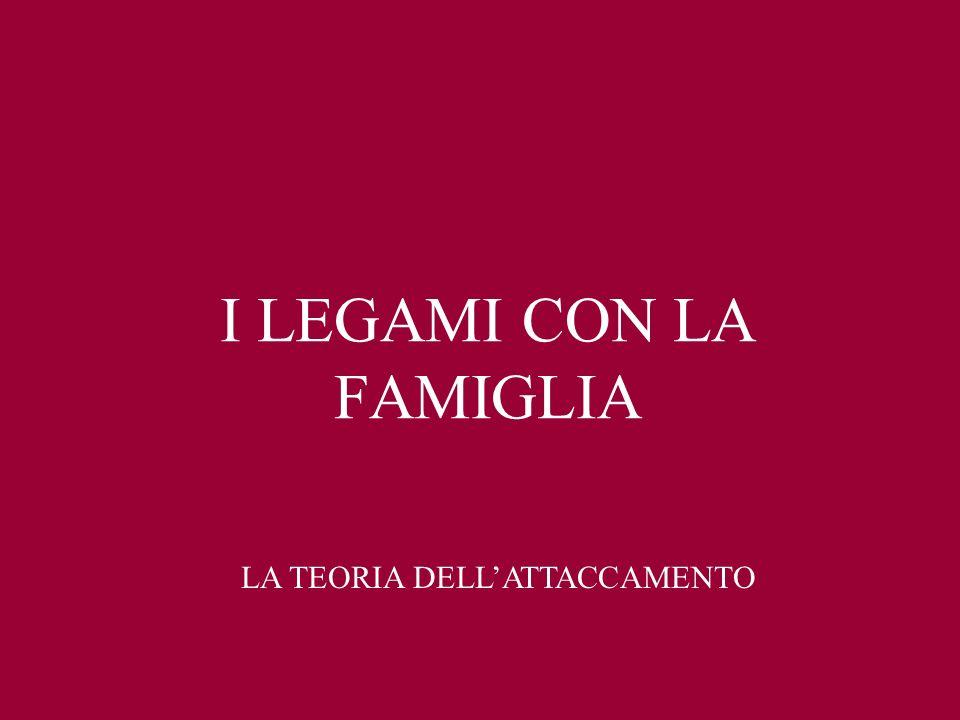 I LEGAMI CON LA FAMIGLIA LA TEORIA DELLATTACCAMENTO