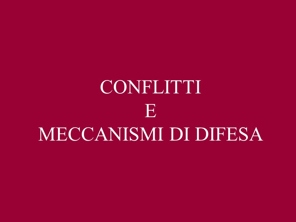 MECCANISMI DI DIFESA I meccanismi di difesa sono dei processi di cui l IO si avvale per risolvere i conflitti interni, evitare pericoli, angoscia, dispiacere (Freud,1937).
