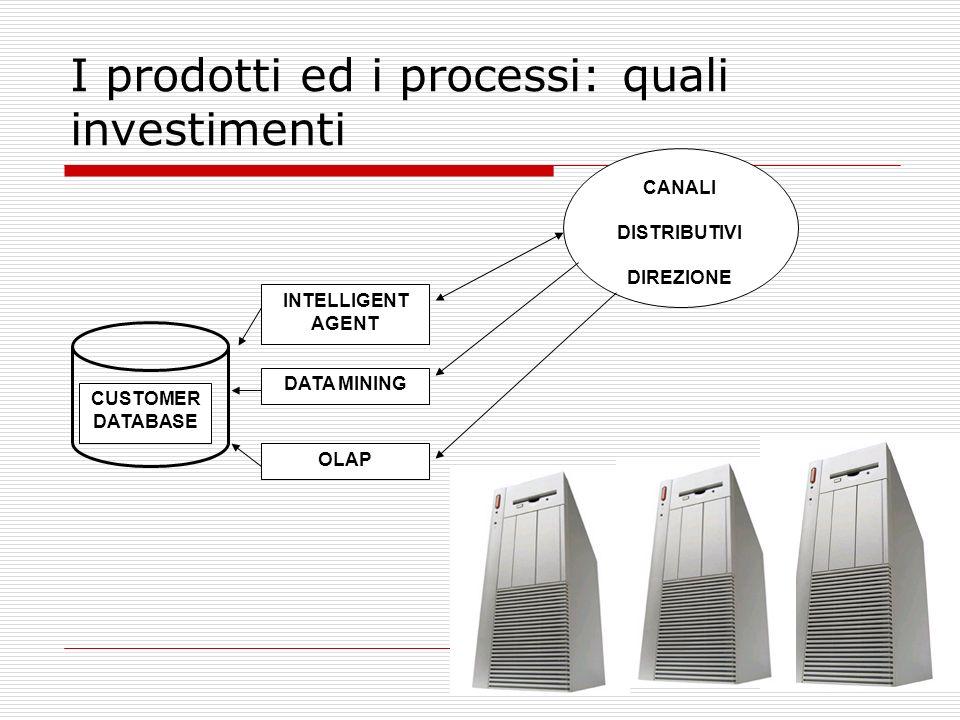 24 I prodotti ed i processi: quali investimenti CUSTOMER DATABASE INTELLIGENT AGENT DATA MINING OLAP CANALI DISTRIBUTIVI DIREZIONE