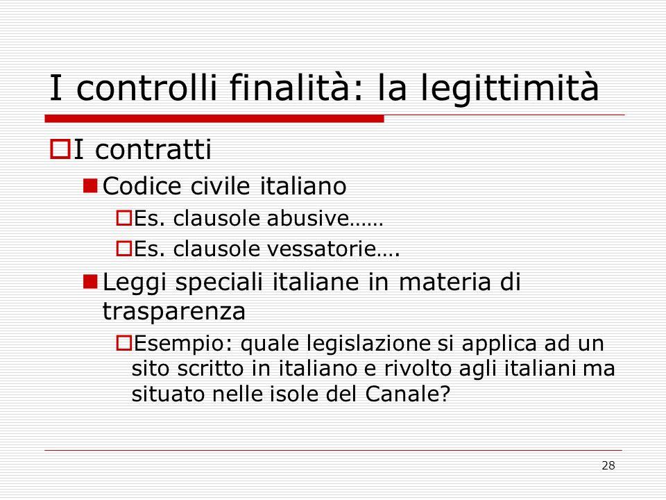 28 I controlli finalità: la legittimità I contratti Codice civile italiano Es.