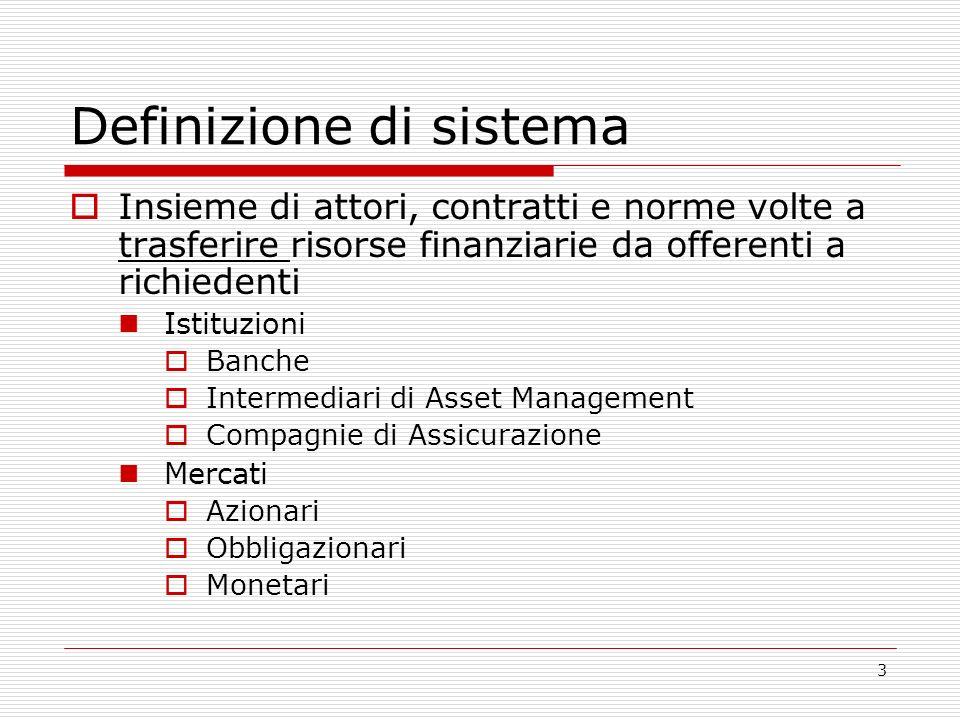 3 Definizione di sistema Insieme di attori, contratti e norme volte a trasferire risorse finanziarie da offerenti a richiedenti Istituzioni Banche Intermediari di Asset Management Compagnie di Assicurazione Mercati Azionari Obbligazionari Monetari