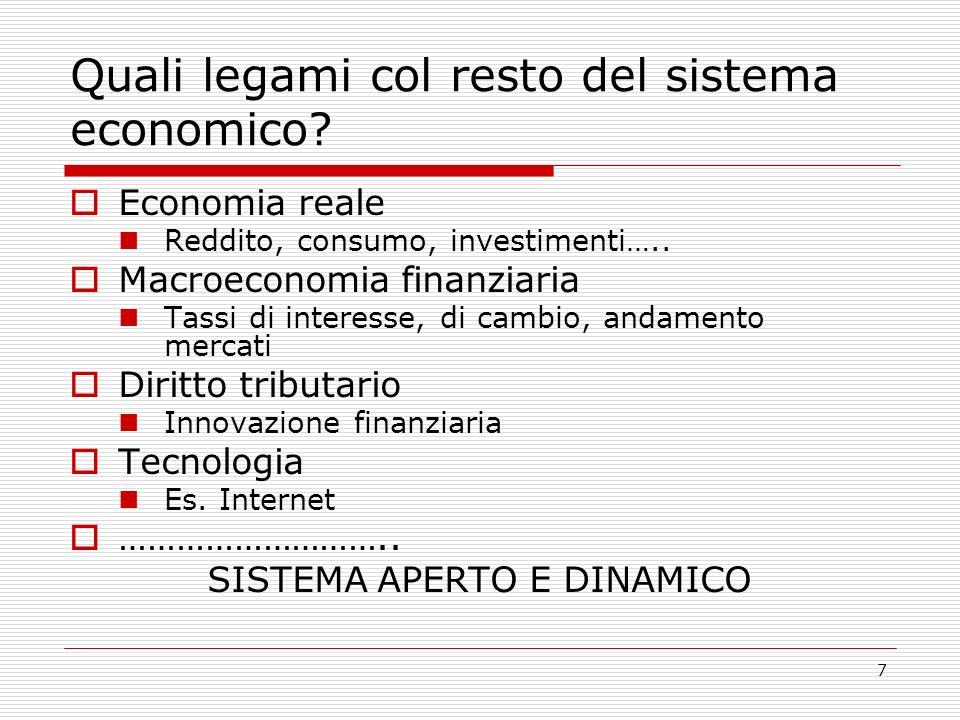 8 Le nuove risorse: i saldi finanziari SF = risparmio finanziario Y-C-I = SF Y = reddito C = consumi I = investimenti reali NB: gli investimenti finanziari sono il saldo finanziario Y-C-I = SF = ΔAF - ΔPF