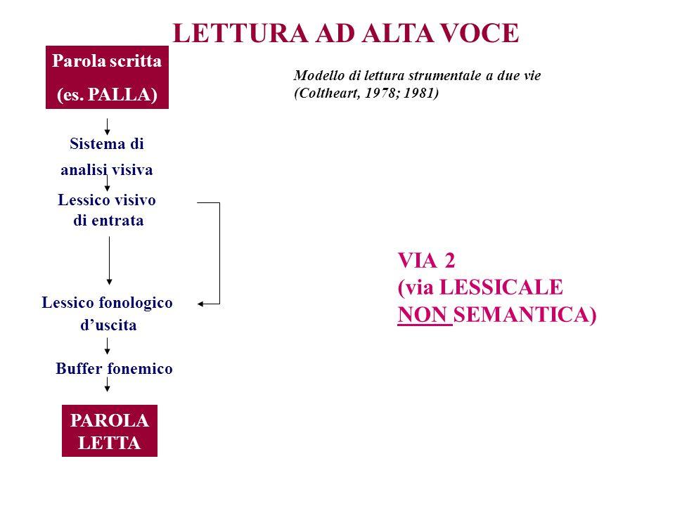 LETTURA AD ALTA VOCE Parola scritta (es. PALLA) Sistema di analisi visiva Lessico visivo di entrata Lessico fonologico duscita Buffer fonemico PAROLA